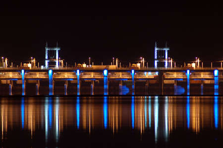 light transmission: Hydro-electric Dam at night