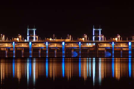 Hydro-electric Dam at night