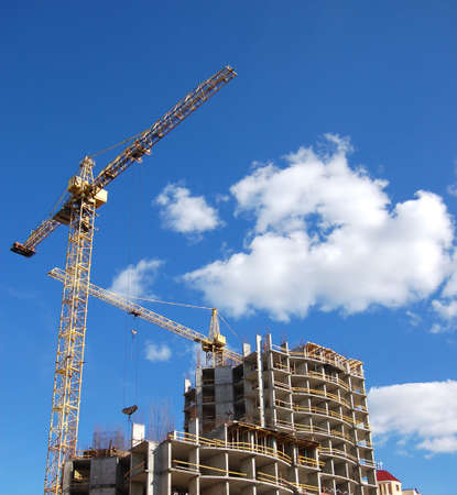 Cranes and building construction photo