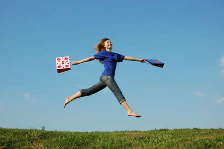 jump  girl with bags