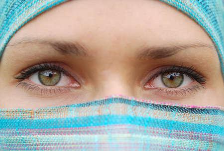 Green eyes of arabian pretty girl