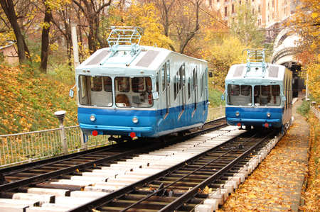 kiev: Railway funicular is an autumn Kiev , Ukraine Stock Photo