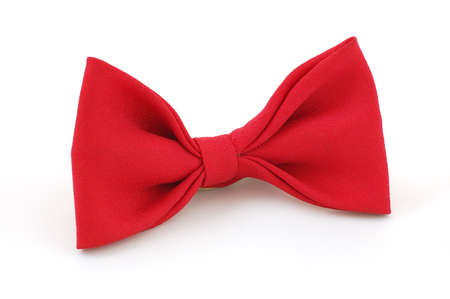 eveningwear: Red bow tie isolated on the white Stock Photo