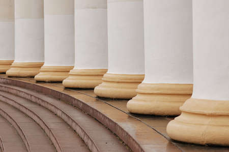 Architectural pattern of classic columns and steps