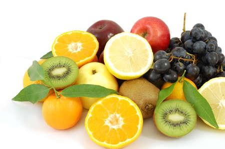 Fresh fruits isolated on white photo