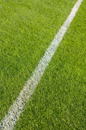 White line on the grass of sporting stadium photo