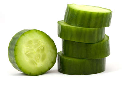 slices cucumber  isolated on a white background Stock Photo