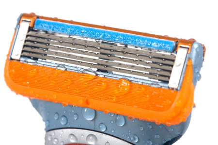 Razor Cleaning with water drops on isolated