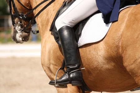 human leg on the horseback Stock Photo