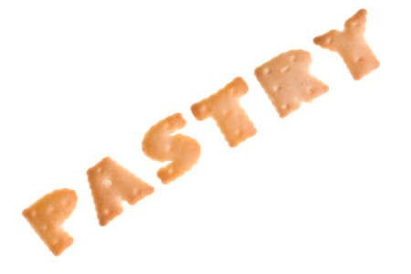 Text PASTRY from cookies on isolated  photo