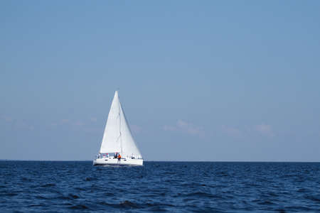 Sailboat sailing with blue  sky