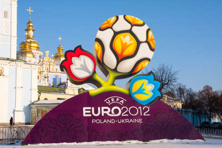 KYIV, UKRAINE - DECEMBER 15 , 2009: Official logotype UEFA EURO 2012, St.Michael's Orthodox Cathedral , Kyiv, Ukraine, December 15, 2009.