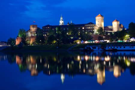 wawel: Wawel Castle illuminated at night . Krakow , Poland. Stock Photo