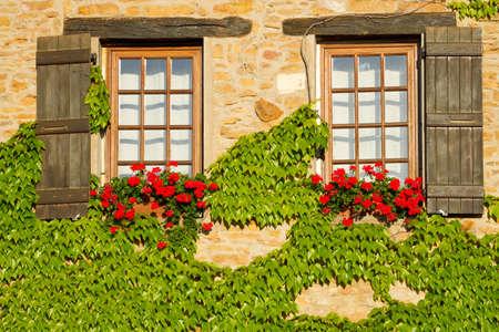 provence: Beautiful window in Burgundy , France .