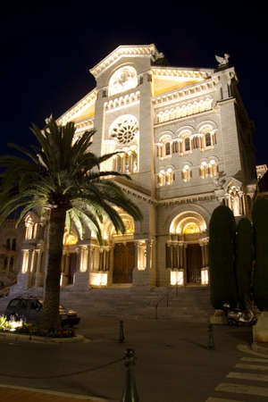 Saint Nicholas Cathedral at night in Monaco   photo