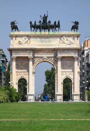 pace: Arco della Pace in Sempione Park  Milan in Italy  Stock Photo