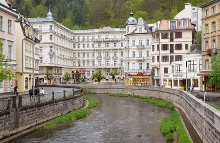 vary: KARLOVY VARY, CZECH REPUBLIC - MAY 4:Water canal in Karlovy Vary. Carlsbad famous spa center on May 4,2010 in Karlovy Vary,Czech Republic.