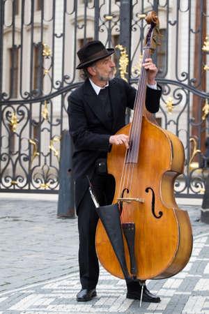 PRAGUE, CZECH REPUBLIC - APRIL 4:Street musician located in Royal castle on Prague. April 4,2010 in Prague, Czech Republic.