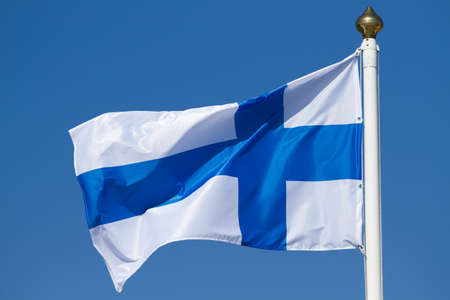 finnish: Flag of Finland on a background sky
