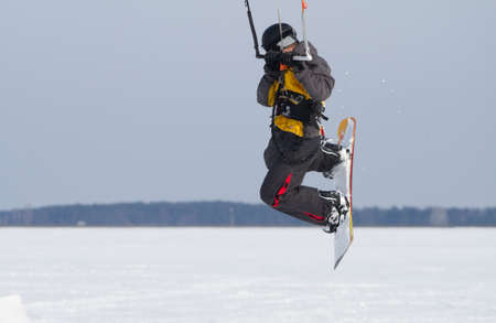 kiting: Snow kiting on a snowboard