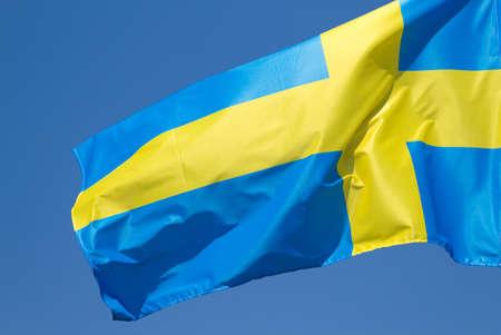 sweden flag: Sweden flag on the blue sky Stock Photo