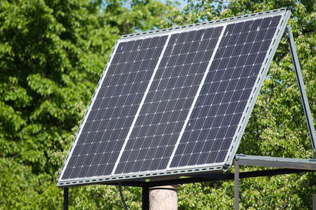 solarpanel: Solar panels on the building roof Stock Photo