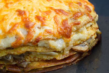 rubicund: Pancake pie with mushrooms and cheese