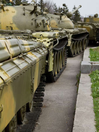 Old soviet tank in  column