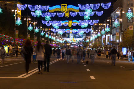KYIV, UKRAINE- AUGUST 20,2011:Main street of Kyiv Khreshchatyk is beautifully illuminated  at night in Ukraine .