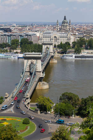 The famous Chain Bridge in Budapest, Hungary photo