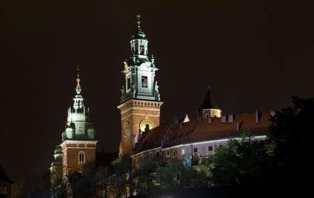 wawel: Wawel Castle at night in Krakow , Poland.