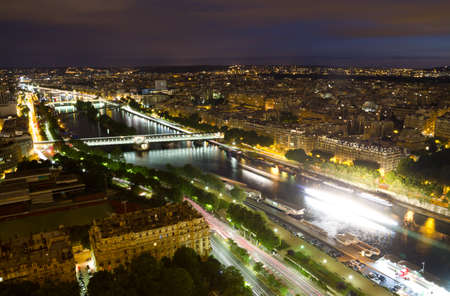 View of Paris from the Eiffel tower at night  photo