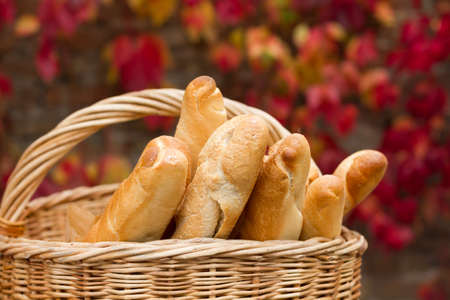 Fresh bread on the basket in autumn background photo
