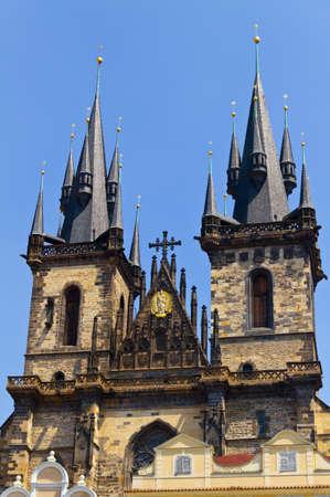 tyn: Famous Church Tyn in Prague, Czech Republic Stock Photo