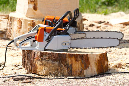 sawyer: Orange chainsaws  standing on a tree stump