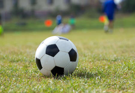 balon de futbol: Balón de fútbol sobre la hierba verde Foto de archivo