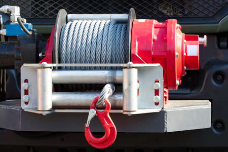 car breakdown: Detail photo of the car winch.