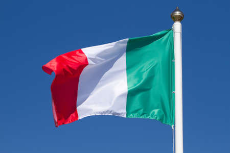 italy background: Flag of Italy on a background sky