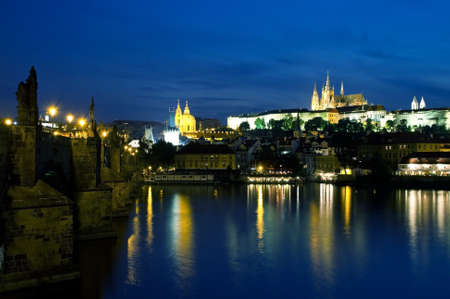 vltava: Vltava River and Old Town at night in Prague Stock Photo