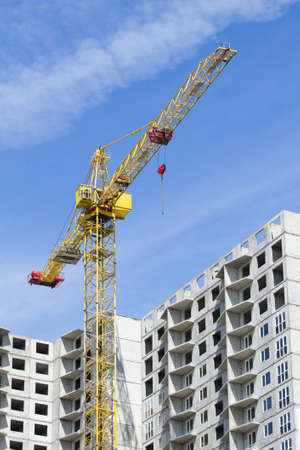 Cranes on the building construction. Stock Photo