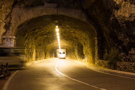 Road tunnel at night in Monte Carlo Stock Photo