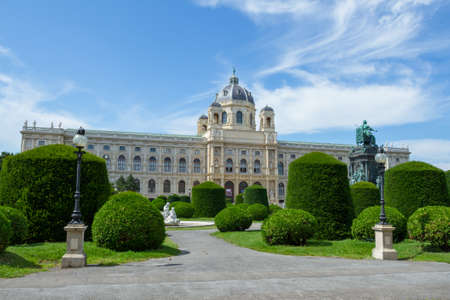 VIENNA, AUSTRIA - JULY 23, 2017: Museum of Natural History and Maria-Theresien-Platz Park in Vienna, Austria