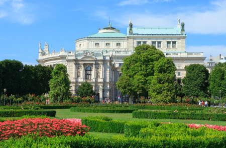 VIENNA, AUSTRIA - JULY 23, 2017:View of Burgtheater, the Austrian National Theater on Volksgarten park in Vienna, Austria. Editorial