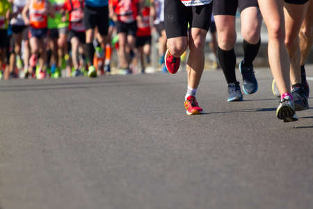 Kyiv, Ukraine - April 22, 2018:Legs of athletes running half marathon in Kyiv, Ukraine Editorial