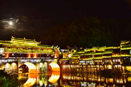 Feng Huang at night, the most famous ancient town in Hunan province, China