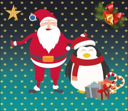 Cristmas santa and penguin