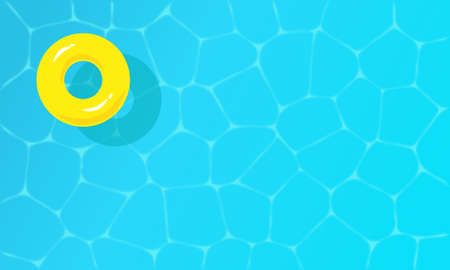 Top view of shining blue water ripple pool with yellow inflatable ring. Swimming pool background Vector illustration.