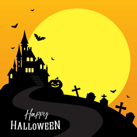 Happy Halloween greeting card vector illustration, Full moon with scary castle and copy space. 矢量图像