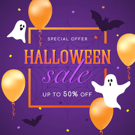 Halloween Sale flyer Vector illustration. Ghost, orange balloons, spider web with confetti on purple background. 矢量图像