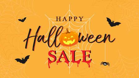 Happy Halloween Sale banner vector illustration. lettering and Halloween pumpkin on orange spider web background